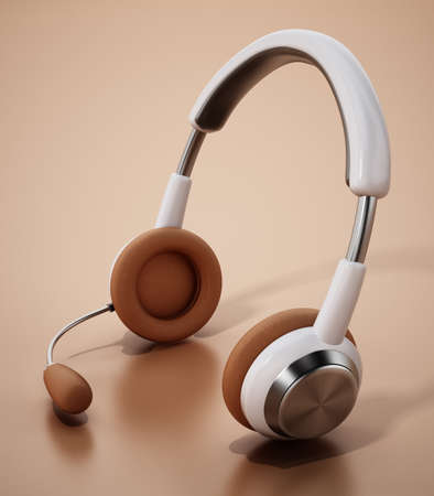 Generic headset standing on orange background. 3D illustration. 版權商用圖片 - 161138711