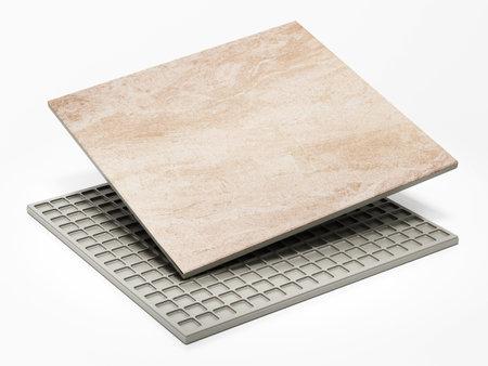 Bathroom tile isolated on white background. 3D illustration. 版權商用圖片 - 161138624