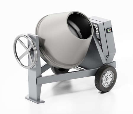 Cement mixer isolated on white background. 3D illustration. 版權商用圖片