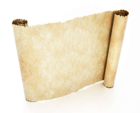Old blank parchment isolated on white