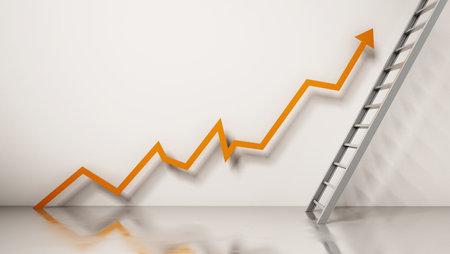 Rising sales arrow leading to the ladder 版權商用圖片