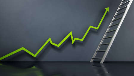 Rising sales arrow leading to the ladder. 版權商用圖片