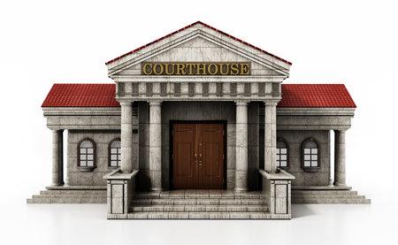 Courthouse isolated on white background. 3D illustration. 版權商用圖片