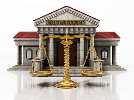Courthouse and balanced scale isolated on white background. 3D illustration.
