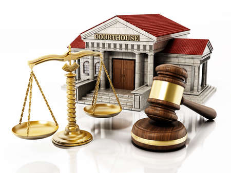 Courthouse, gavel and balanced scale isolated on white background. 3D illustration.