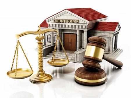 Courthouse, gavel and balanced scale isolated on white background. 3D illustration. 版權商用圖片 - 161410746