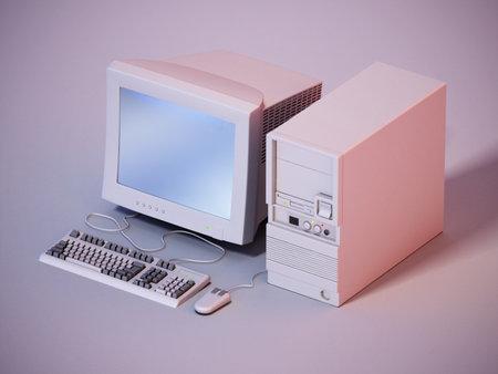 Vintage PC standing on gray background. 3D illustration.