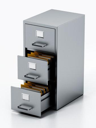 File cabinet isolated on white background. 3D illustration. 版權商用圖片 - 161410752