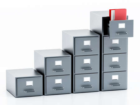 Rising file cabinets isolated on white background. 3D illustration. 版權商用圖片