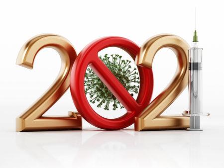 2021 text with virus inside red forbidden sign and syringe. 3D illustration. 版權商用圖片