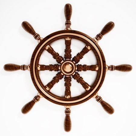 Ship wheel isolated on white background. 3D illustration.