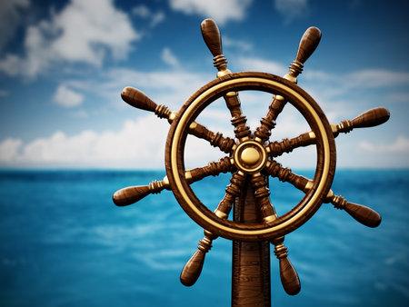 Ship wheel against blue sea and sky. 3D illustration. 版權商用圖片
