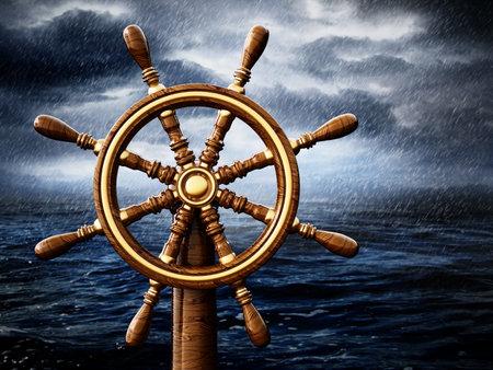 Ship wheel against the storm at night background. 3D illustration. 版權商用圖片 - 161505441