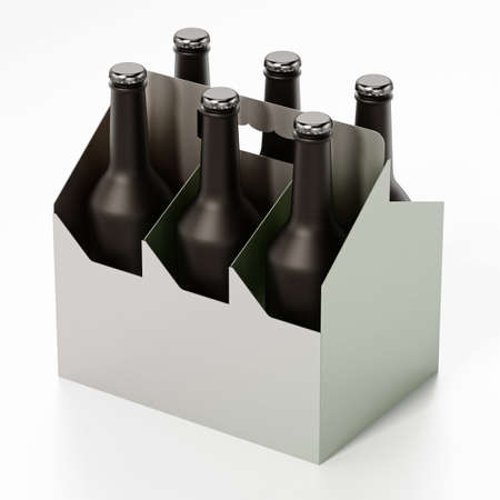Six pack of beer isolated on white background. 3D illustration. 版權商用圖片 - 161505463