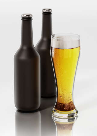 Two beer bottles and a glass of beer isolated on white background. 3D illustration.