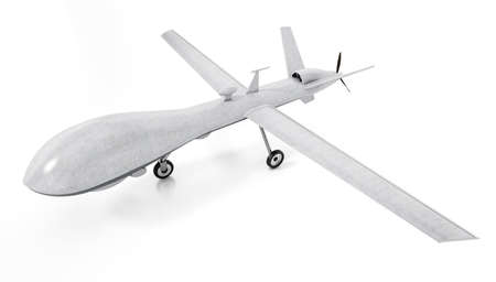 White military unmanned drone isolated on white background. 3D illustration.