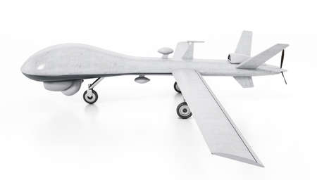 White military unmanned drone isolated on white background. 3D illustration. 版權商用圖片 - 161505470