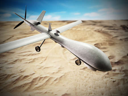 White military unmanned drone at the air. 3D illustration. 版權商用圖片 - 161505471