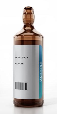 Generic Covid-19 vaccine in glass bottle. 3D illustration.