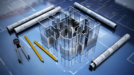 Architectural plans, house model, pencil and compasses. 3D illustration.