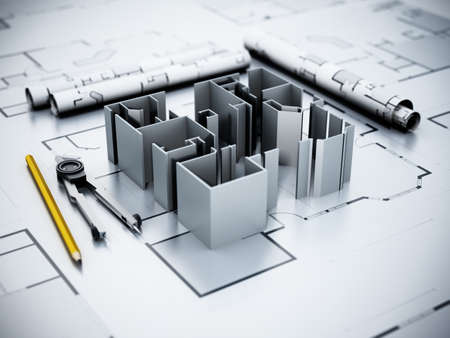 Architectural plans, house model, pencil and compasses. 3D illustration. 版權商用圖片 - 161876845