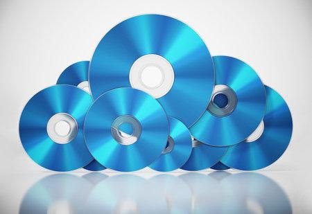 Bluray discs arranged as a cloud symbol. Data storage concept. 3D illustration.