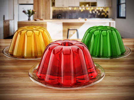 Jelly in the plate standing on the kitchen table. 3D illustration. 版權商用圖片
