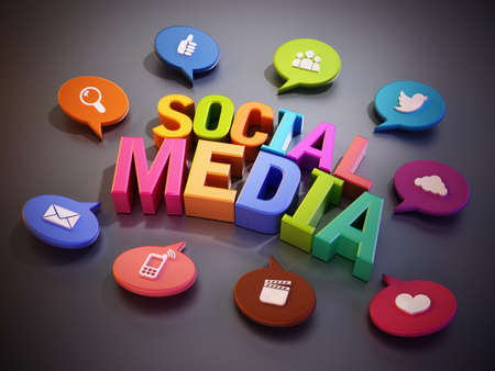 Speech balloons with technology icons around social media text. 3D illustration.