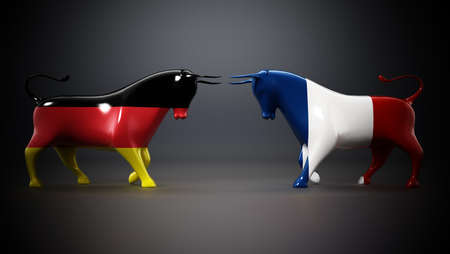 Bulls with Germany and France flags facing each other on dark background. 3D illustration.