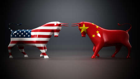 Bulls with American and Chinese flags facing each other on dark background. 3D illustration.