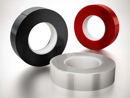 Black, white and red electrical tapes isolated on white background. 3D illustration.