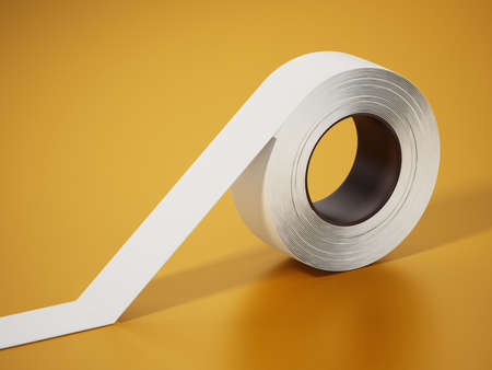 White electrical tape isolated on yellow background. 3D illustration.
