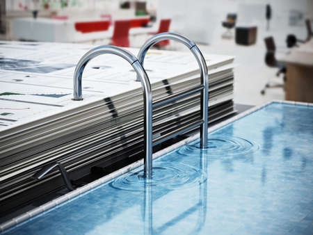 Document folder mechanism illustrated as swimming pool ladder. Business and vacations concept. 3D illustration. 版權商用圖片
