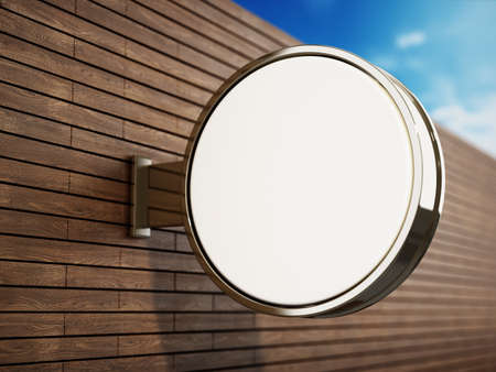 Blank round signboard attached to the wall. 3D illustration.