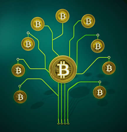 Fictitious crypto coins hanging on PCB tree branchs. 3D illustration.