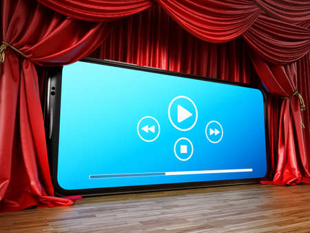 Smartphone with media control icons at the stage among red curtains. 3D illustration.