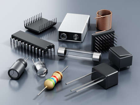 Spare electronic parts isolated on gray background. 3D illustration.