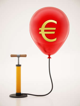 Manual hand pump connected to the inflated red balloon with Euro icon. 3D illustration.