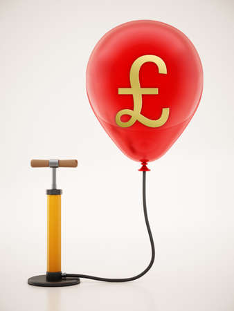 Manual hand pump connected to the inflated red balloon with Pound icon. 3D illustration.