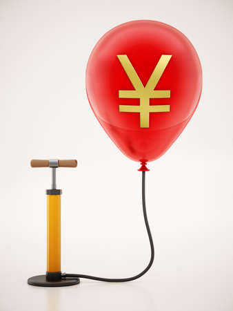 Manual hand pump connected to the inflated red balloon with Yen icon. 3D illustration.