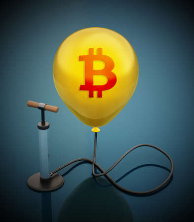 Manual hand pump connected to the inflated yellow balloon with Bitcoin icon. 3D illustration.