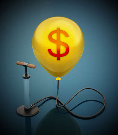 Manual hand pump connected to the inflated yellow balloon with Dollar icon. 3D illustration.