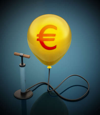 Manual hand pump connected to the inflated yellow balloon with Euro icon. 3D illustration.