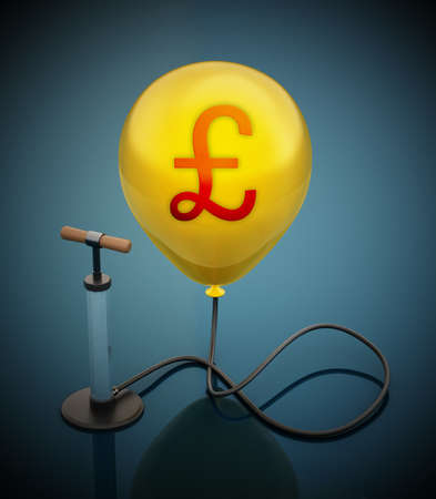 Manual hand pump connected to the inflated yellow balloon with Pound icon. 3D illustration. 版權商用圖片