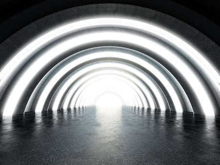 Brighthly lit futuristic tunnel with reflection on the ground. 3D illustration. Stock Photo