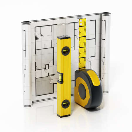 Tape measure, water level and bluprint isolated on white background. 3D illustration.