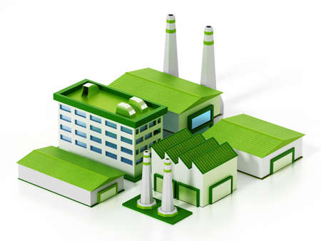 Eco friendly factory compound isolated on white background. 3D illustration.