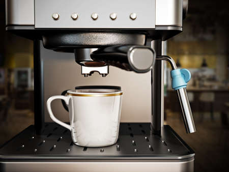 Coffee machine with a cup of fresh coffee. 3D illustration.