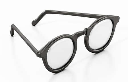 Round eyeglasses isolated on white background. 3D illustration.