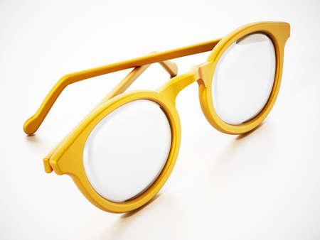 Round yellow eyeglasses isolated on white background. 3D illustration.